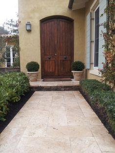 Unfilled and tumbled edge for a classic outcome Porch Tile, Patio Tiles, Outdoor Tiles, Outdoor Flooring, Outdoor Steps, Outdoor Pergola, Pergola Ideas, Fresco, Courtyard Design