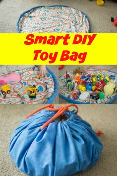 Smart DIY Toy bag ~ this is easy to make for even a beginning sewer and a great way to tame clutter and teach kids to clean up after themselves