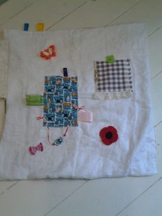 Linen tablecloth recycled to make fidget blanket made by Kaz ..