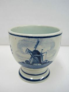 Vintage Delft Egg Cup Holland Dutch Blue White Windmill Hand Painted