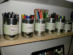 Reusing cans to organize your office supplies.