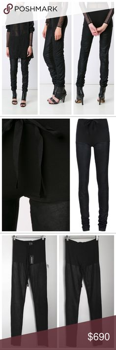 "Ann Demeulemeester Leather Drawstring Trousers Black genuine leather trousers by Ann Demeulemeester featuring a sporty drawstring waist & a baby-soft rayon-spandex blend upper lending them both breathability and pajama comfort.  Thigh-high velvety leather panels run both sides.  Intentionally overlong inseam.  Size FR 36- approx. US 2-4. Waist-13.5""(can be tightened a bit w/drawstring), hips-16""(jersey does have stretch), inseam-38"". NWT.  Very faint, tiny ring-shaped mark at right leg…"