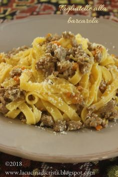 La cucina di Cristina: Taglietelle alla barcarola Macaroni And Cheese, Spaghetti, Ethnic Recipes, Food, Mac And Cheese, Meals, Yemek, Spaghetti Noodles, Eten