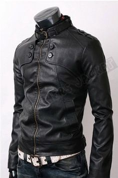 Handmade men black leather jacket, men black belted collar jacket with front button panel. Only $129.99