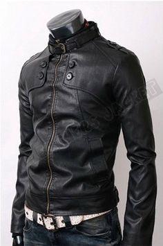 Handmade men black leather jacket, men black belted collar jacket with front button panel. Only $129.99