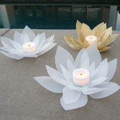 Pretty DIY votive holders are made out of recycled milk jugs (Bliss Bloom Blog)