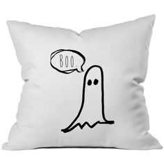 Oh, Susannah Halloween BOO Ghost Throw Pillow Cover (1 18X 18 inch,... ($17) ❤ liked on Polyvore featuring home, home decor, holiday decorations, black home decor, black home accessories and halloween home decor