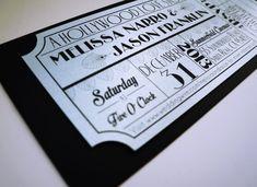 Movie Ticket Wedding Invitation DIGITAL DESIGN by brighteyedbirdie