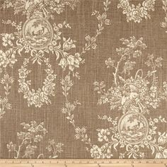 Waverly Country House Toile Linen from @fabricdotcom  This medium weight linen rayon blend fabric features a screen printed floral toile pattern with a slub. Perfect for window accents (draperies, valances, curtains and swags), toss pillows, bed skirts, duvet covers and slipcovers, and get creative with tote bags and aprons. Colors include brown and cream.