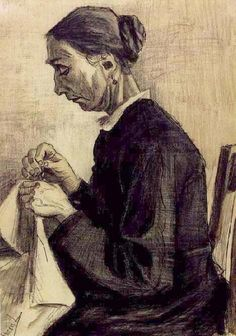 """Sien, Sewing, Half-Figure"", (1883)  by Vincent van Gogh"