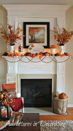 Pretty Fall Mantel from Adventures in Decorating blog