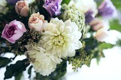 Pastel florals, White Dahlias, Foliage, Garden style wedding, Melbourne Florist