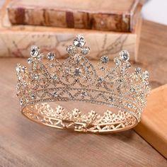 Pageant Crowns, Tiaras And Crowns, Royal Tiaras, Headpiece Wedding, Bridal Tiara, Gold Bridal Crowns, Wedding Crowns, Wedding Gold, Wedding Reception