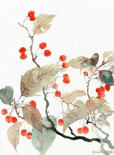 Traditional Chinese illustrations by Sichuang, China based illustrator He Lu, aka Mario. He Lu has created illustrations for a number of comics. Watercolor Disney, Watercolor Flowers, Watercolor Art, Pix Art, Leaf Wall Art, Traditional Paintings, China Painting, Environmental Art, Beautiful Paintings