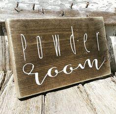 Powder Room Rustic Decor Farmhouse Bathroom Sign by ThreeArrowsCo