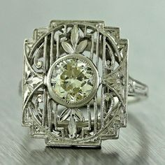 1920s Antique Art Deco Filigree Platinum Diamond Engagement Ring $2820 Size 3.25 #Handmade #SolitairewithAccents