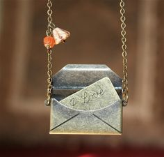 Antique Envelope with Love Message Locket Necklace. Love necklace by smilesophie on Etsy Letter Necklace, Love Necklace, Dog Tag Necklace, Amber Jewelry, Silver Jewelry, Nerd Jewelry, Jewelry Box, Jewelry Ideas, Key Pendant