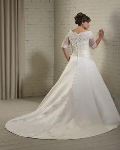 Long Lace Sleeves Plus Size Bridal Wedding Dress Wedding Gown 2012