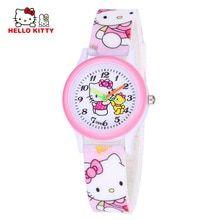 Cartoon Hello Kitty Watch Girl Hours Children Gift Quartz Baby Wrist Watch Kids Child Brand Clock Silicone Relogio Montre Enfant(China)