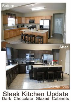 before and after chocolate brown kitchen rustoleum kit copy at www.remodelaholic.com