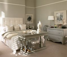 dreamy gray and white bedroom with tufted headboard....I SO want this room!