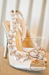 cream champagne rosette wedding shoes