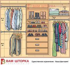 Правильные размеры гардеробного шкафа - инфографика