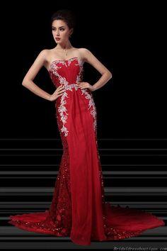 Flamboyant Sweetheart Chapel Train Slim Embroidery Red Chiffon Evening Dress