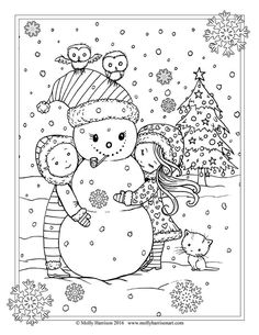 Free Christmas Coloring Page by Molly Harrison. Snowman and Children