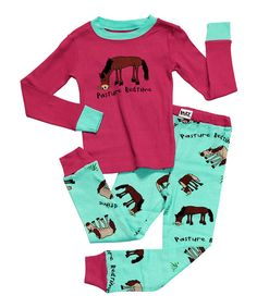 Take a look at this Pink & Aqua 'Pasture Bedtime' Pajama Set - Toddler & Kids on zulily today!