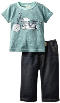 Charlie Rocket Baby-Boys Infant Short Sleeve Motorcycle Tee, Mint/Vintage, 3-6 Months « Clothing Impulse