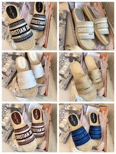 Christian Dior woman embroidered straw sole summer sandals slippers