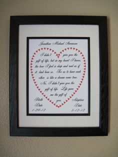 Adoption Gift, Adoption Poem, Adoption Print, Important Date Print, Gift of You on Etsy, $15.00