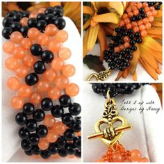 Apricot Jade Black Onyx Obsidian Handmade Beaded Cuff bangle Bracelet