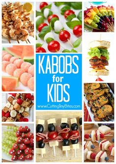 Kabobs for Kids. Healthy skewers, featuring fruit, veggies, sandwiches, snacks, and main dishes. Spruce up your presentation and your kids may just try some new foods!