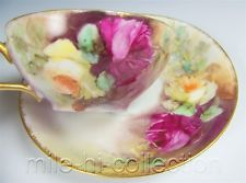 LIMOGES FRANCE HAND PAINTED ROSES TEA CUP & SAUCER