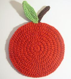 Crochet Red Apple Trivet by SheppardsStaffKnits on Etsy, $3.00