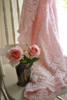 Pink Afghan and Roses