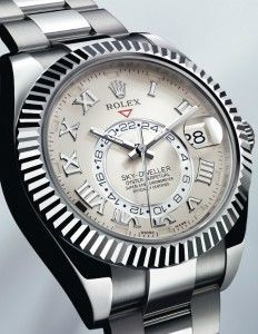 Rolex Oyster Perpetual Sky-Dweller. Some really smart calendar and second timezone engineering in this complication. It's in the bezel!