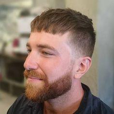 long top short sides Caesar Haircut