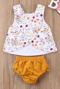 Baby Girl 2 Piece Summer Outfit Sleeveless Top Bloomers Free Shipping! Please allow 12-30 days for delivery.