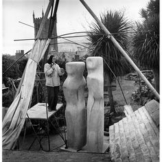1951 Festival of Britain in pictures British sculptor Barbara Hepworth works on an abstract stone sculpture for the Dome of Discovery MoreBritish sculptor Barbara Hepworth works on an . Stone Sculpture, Sculpture Art, Uk History, Action Painting, Barbara Hepworth, St Ives, Black N White Images, Modern Artists, Art Festival