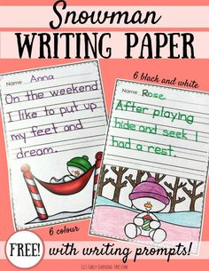 Grab this free snowman writing paper with prompts for some festive cheer in your kids' writing program!
