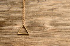 MEDIUM TRIANGLE // Raw Brass Geometric 30 by HistoryOfTheHeart, $24.00