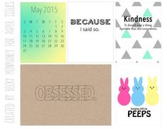 Free My Peeps/Obsessed May Journal Cards from Paper Issues {store checkout required}