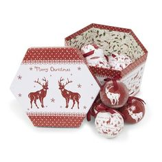 Archipelago Reindeers Red and White Decoupage Baubles, 75mm