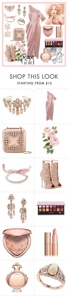"""Rose Gold"" by kyoto-owl ❤ liked on Polyvore featuring Marchesa, Michelle Mason, Manolo Blahnik, Giuseppe Zanotti, Anastasia Beverly Hills, Too Faced Cosmetics, Paco Rabanne, Effy Jewelry and Repossi"