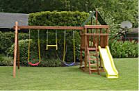 How to Build DIY Wood Fort and Swing Set Plans From Jack's Backyard. Learn how to build your own backyard Endeavor wooden playset with do-it-yourself swing set plans and save money. Backyard Swing Sets, Backyard Playset, Diy Swing, Backyard Ideas, Swing Set Plans, Kids Yard, Wooden Playset, Jungle Gym, Backyard Playground