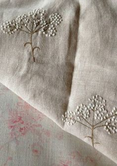 Embroidered Cow Parsley on Pure Linen, by Peony & Sage