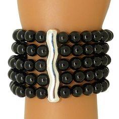 Simon Sebbag Sterling Silver 5 Strand Black Onyx Stretch Cuff Bead Bracelet